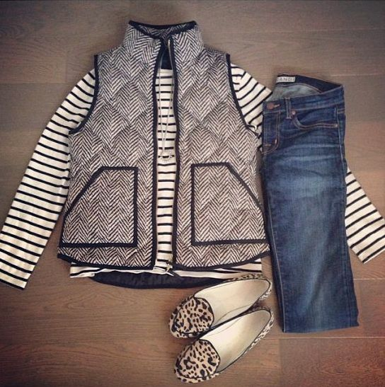 Fall Outfit Inspiration:  J.Crew herringbone vest!