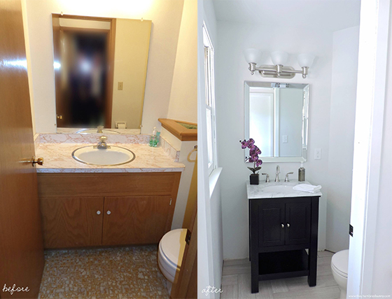 Half bathroom makeover before after the chambray bunny for Before and after small bathroom makeovers