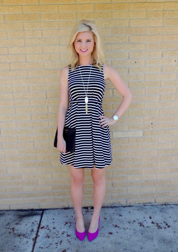 Black and White Stripes with Pink Heels!