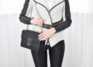Styled my new favorite faux leather trim jacket on TheChambrayBunnycom!hellip