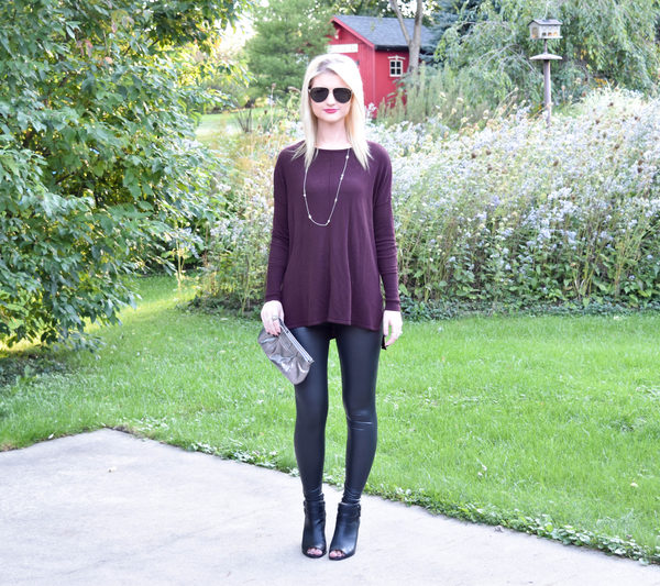 Faux Leather Leggings and A Cozy Oversized Sweater