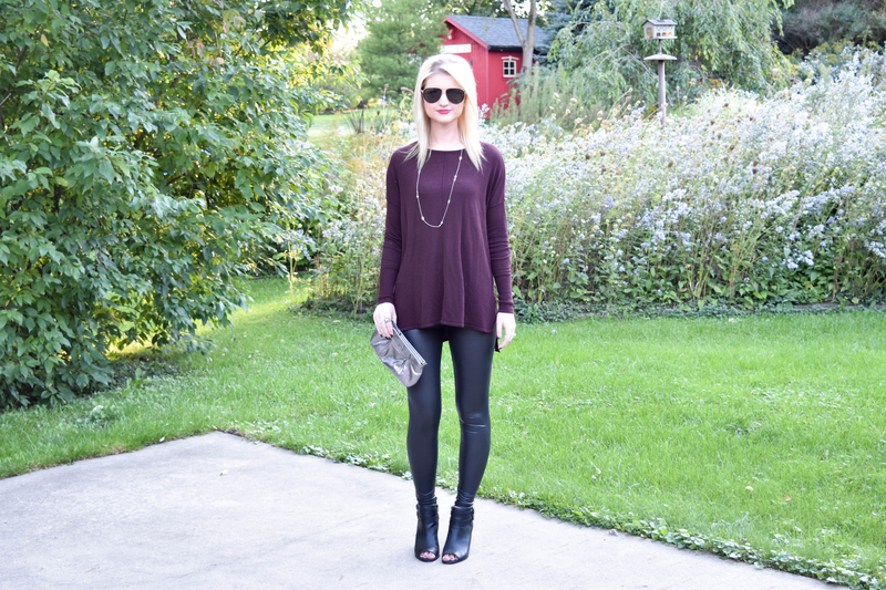 Faux Leather Leggings and Oversized Plum Sweater3