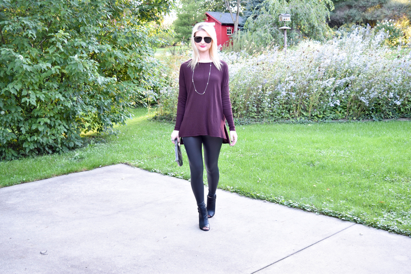 Faux Leather Leggings and Oversized Plum Sweater4