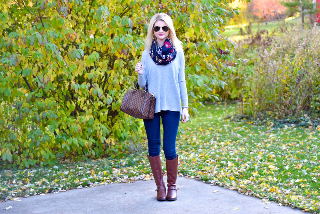 Cognac Riding Boots, Loose Grey Sweater & Floral • The Chambray Bunny