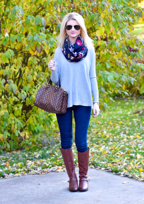 Cognac Riding Boots, Loose Grey Sweater & Floral