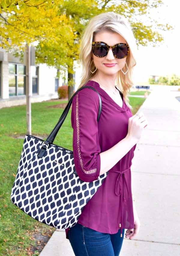 The Perfect Burgundy Tunic and Ikat Spot Tote