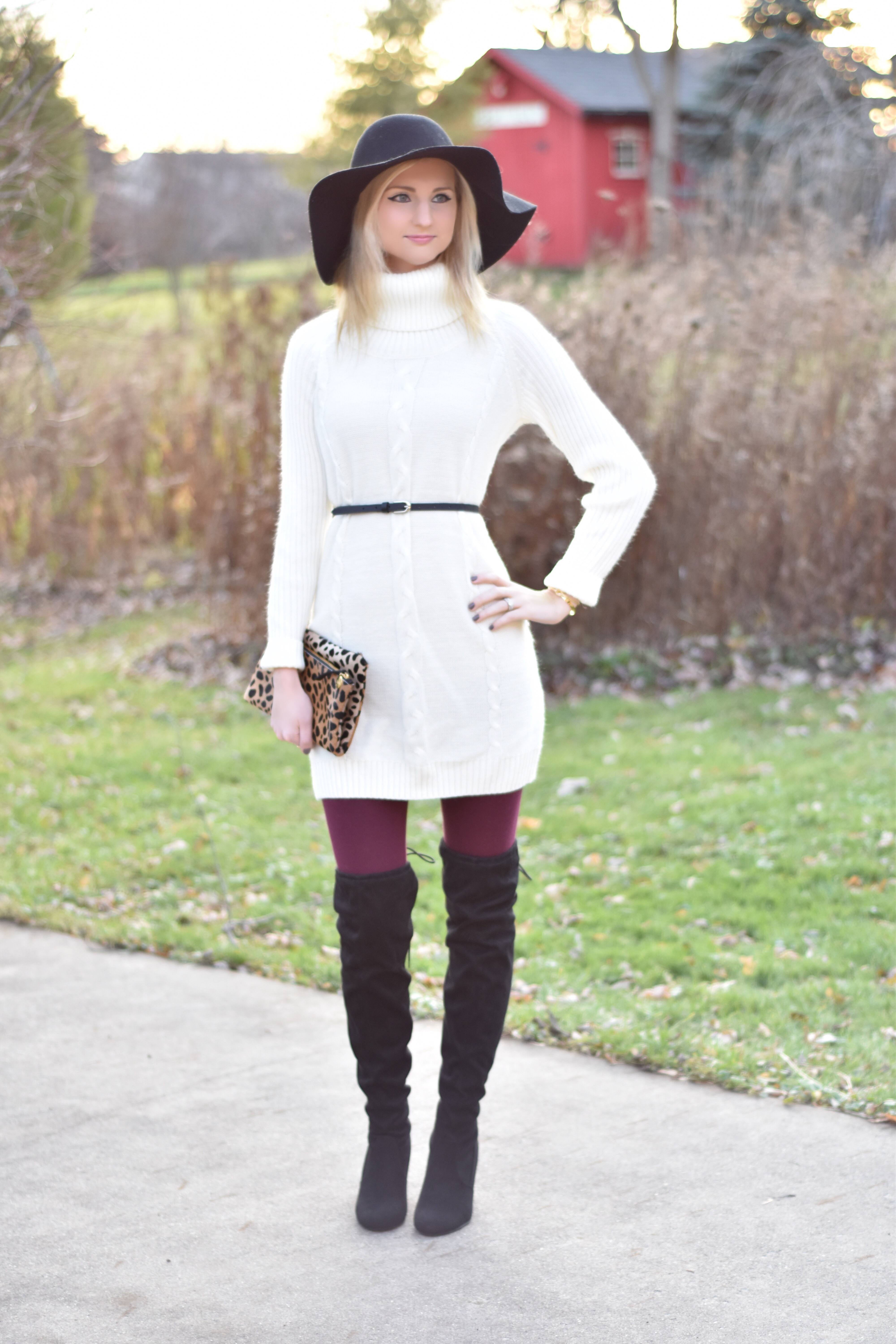 Sweater Dress Over The Knee Boots The Chambray Bunny