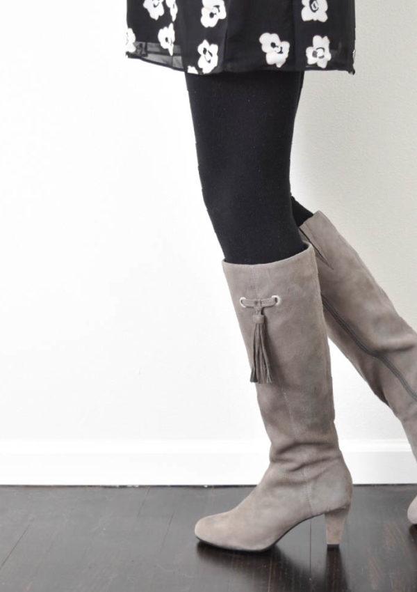 Grey Tassel Boots + Black Floral Dress