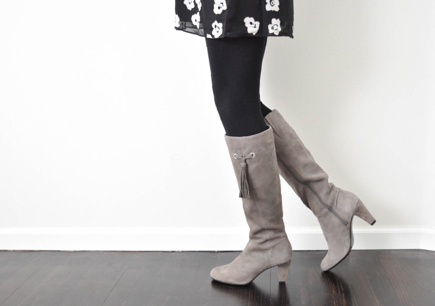 Grey-Tassel-Boots-Black-Floral-Dress2
