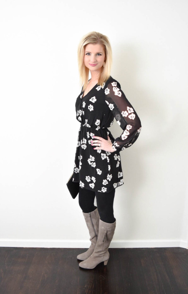 Grey-Tassel-Boots-Black-Floral-Dress1