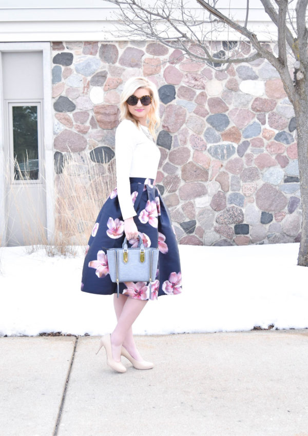 Floral Midi Skirt Valentine's Day Outfit