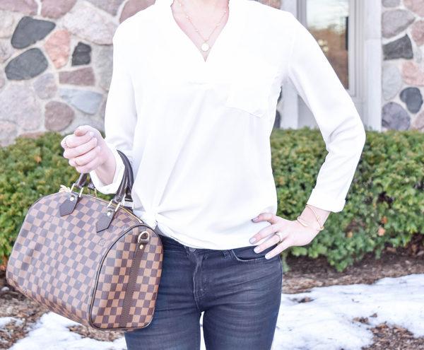 Classic White Pocket Shirt + Dark Jeans
