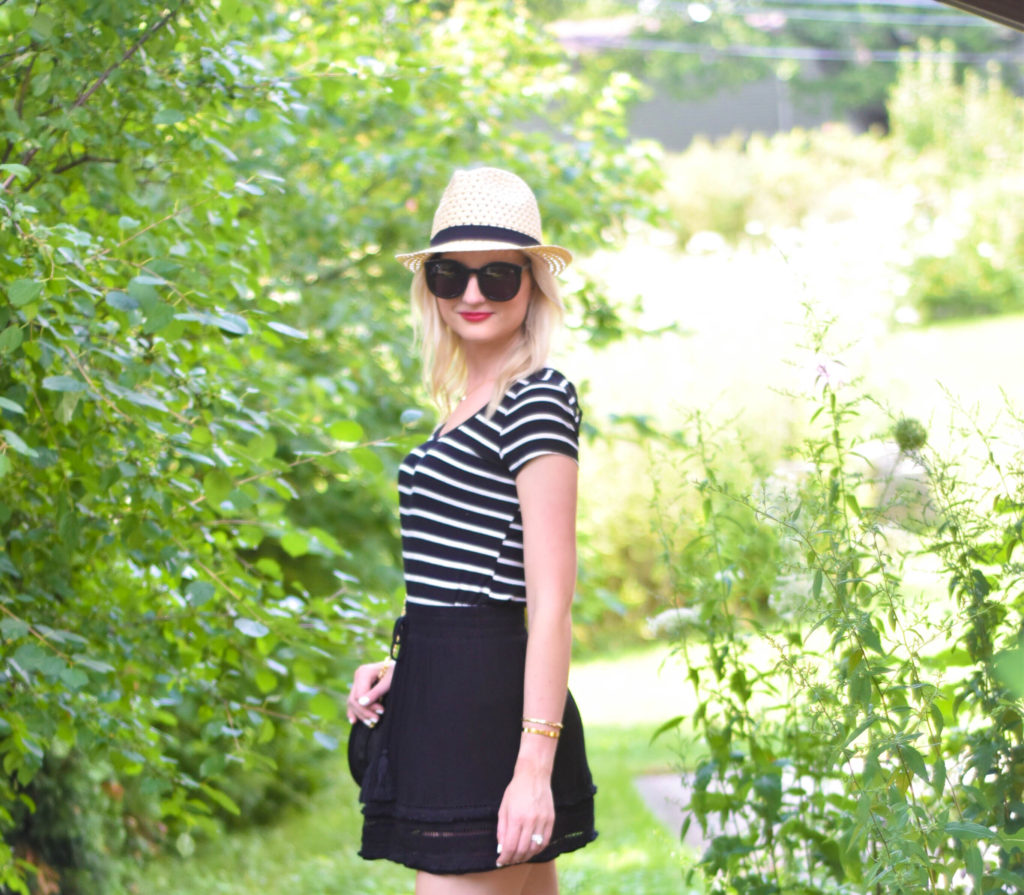 Striped_Tee_Black_Tassel_Skirt_Sam_Edelman_Flats_1