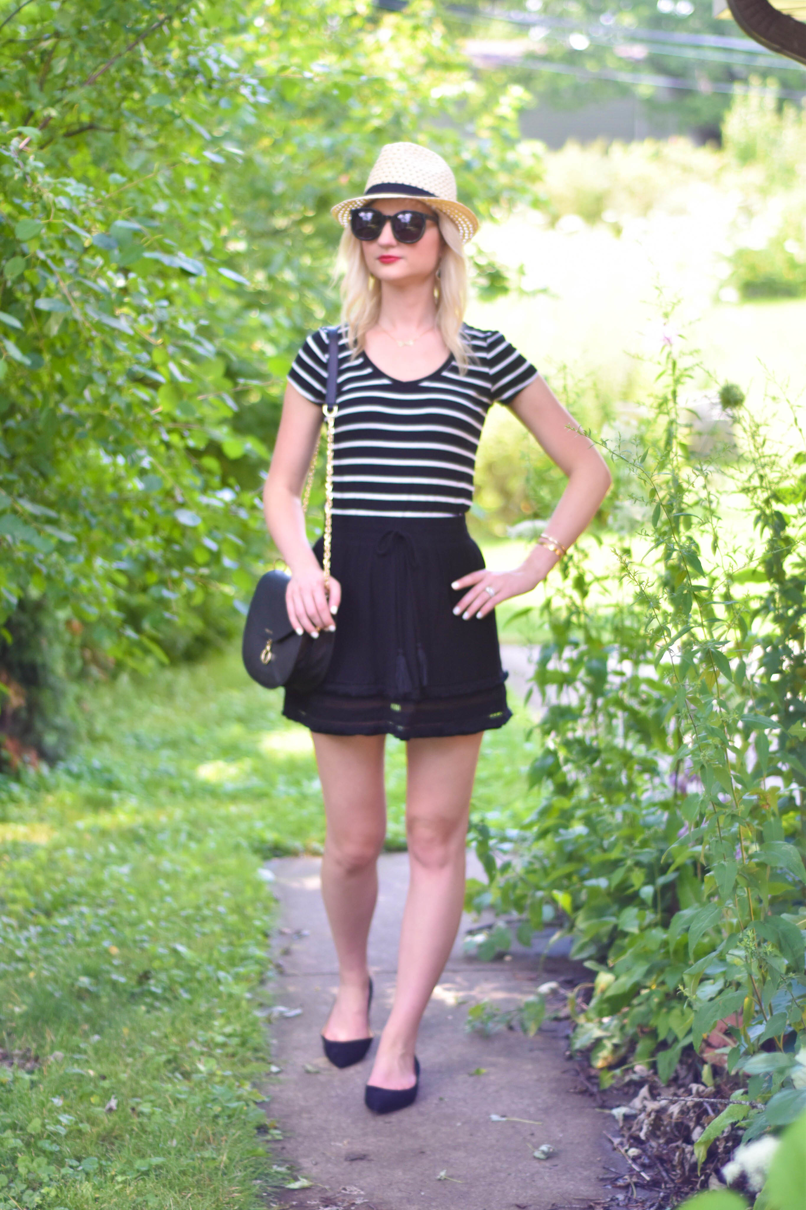 Striped_Tee_Black_Tassel_Skirt_Sam_Edelman_Flats_4