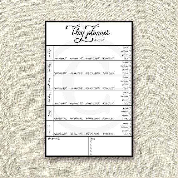 Weekly Blog Planner Calendar