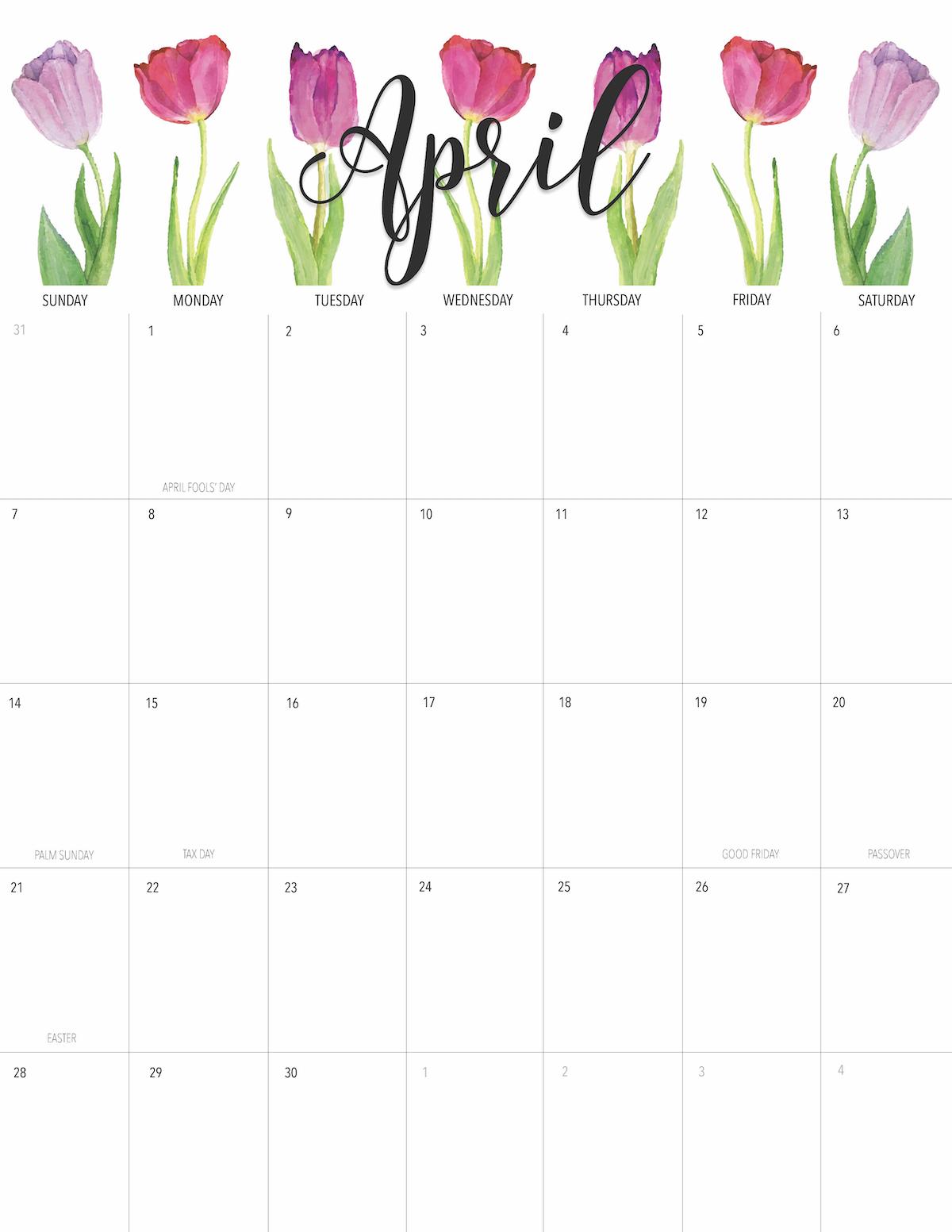 April 2019 Printable Calendar Freebie