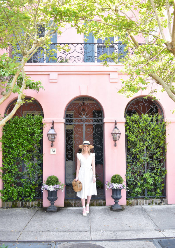 My Favorite Pink House In Charleston + A Classic White Dress