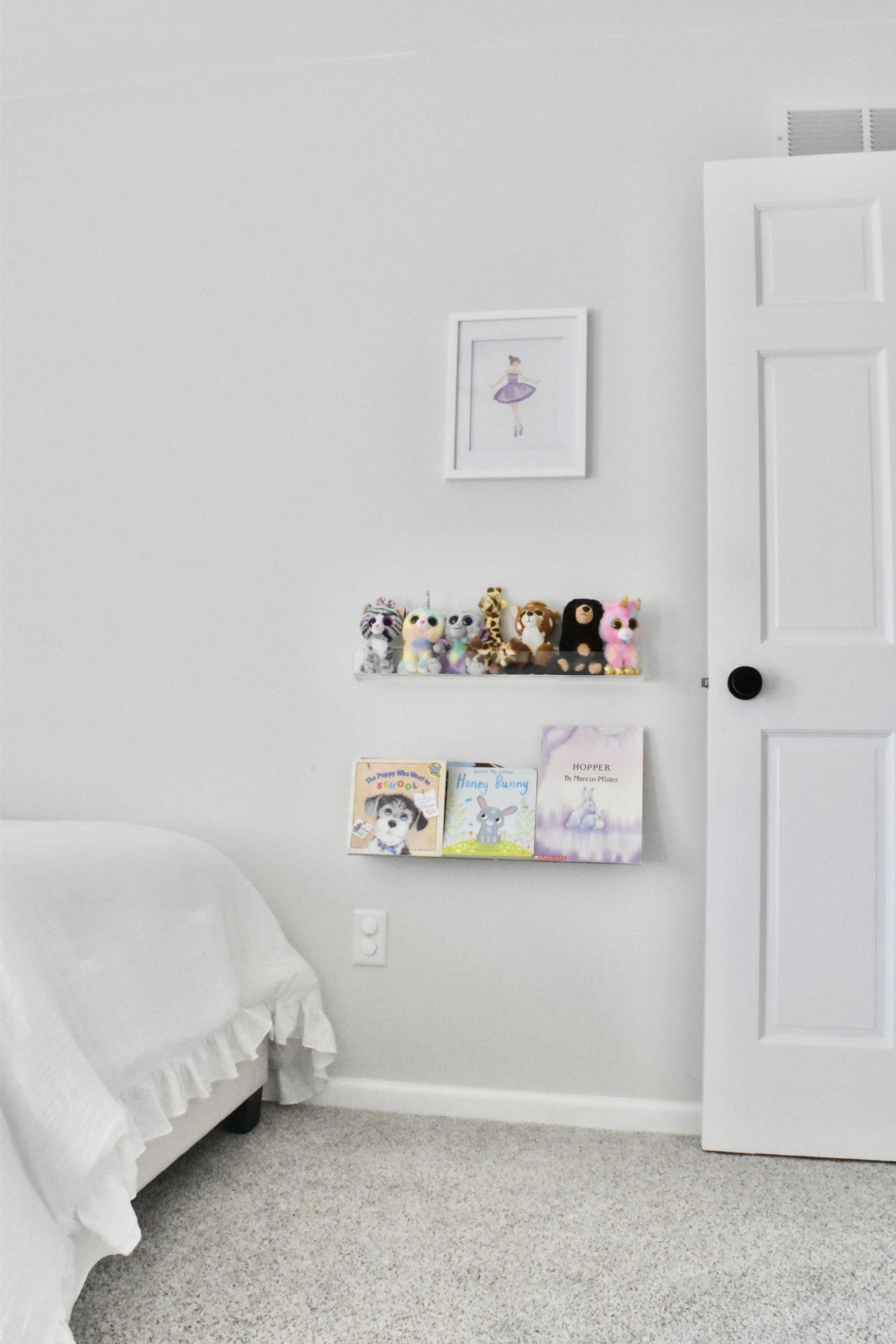 Toddler Girls Room Acrylic Shelves