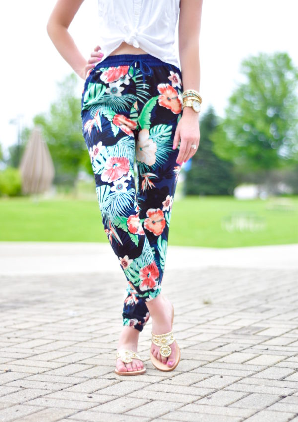 Floral Pants + Palm Beach Sandals Giveaway!