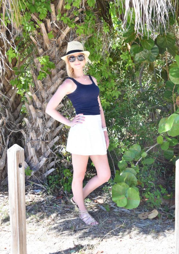 White Mini Skirt + Studded Sandals