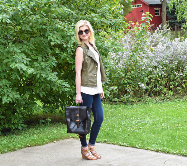 Leather Backpack + Olive Green Vest