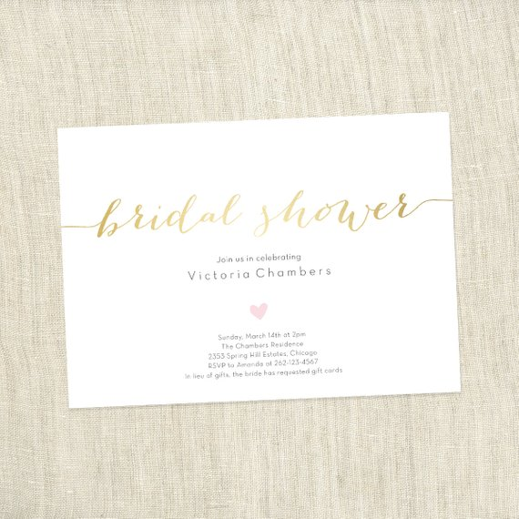 Custom Simple Heart – Bridal Shower Invite