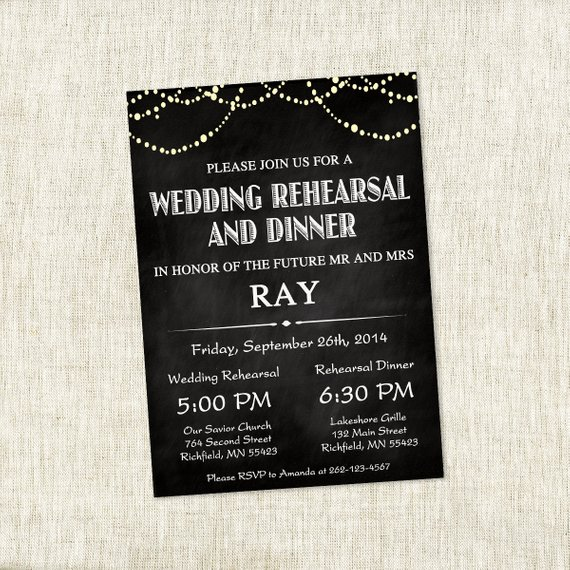 Chalkboard Patio Lights – Wedding Rehearsal Invite