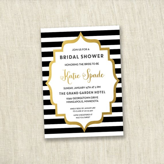 Black & White Stripe – Bridal Shower Invite