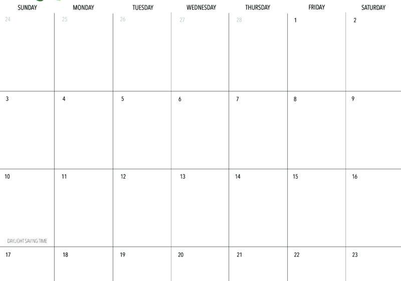 Free March 2019 Printable Calendar