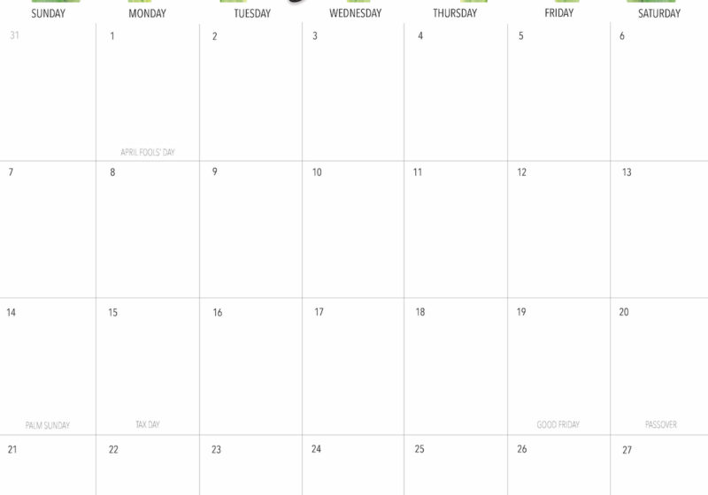 April 2019 Printable Calendar Freebie