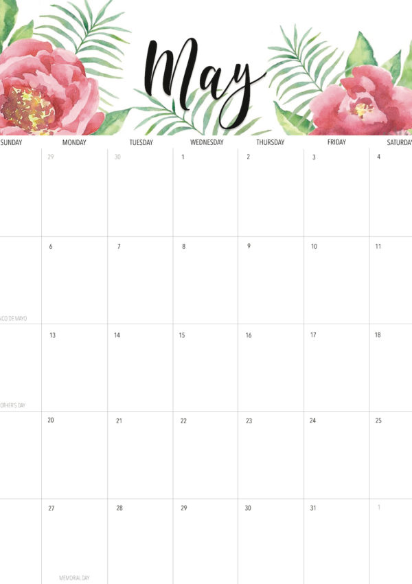 Welcome May Flowers + Free May 2019 Printable Calendar!