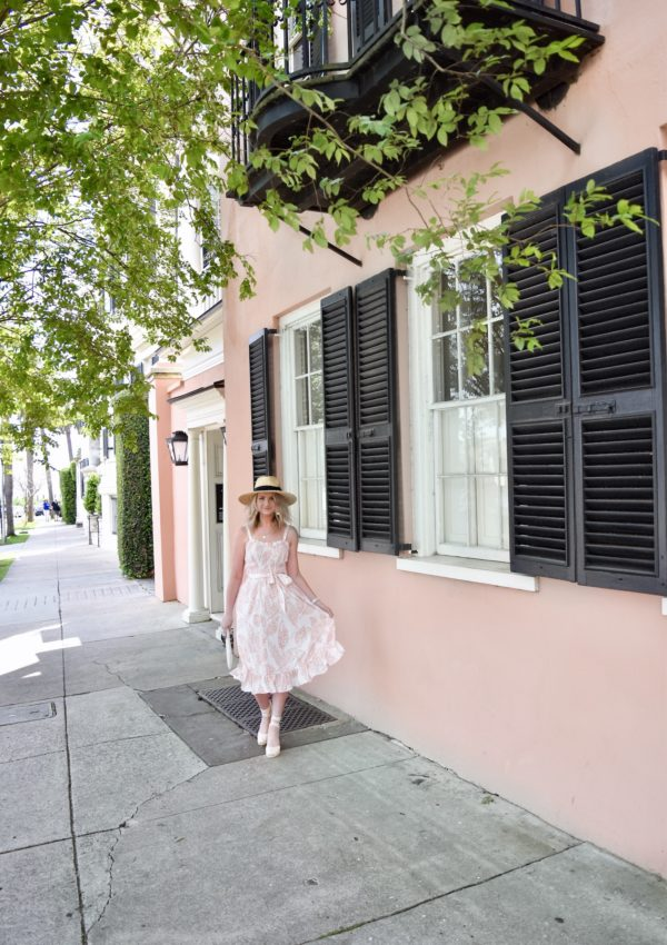 Coral Pink House in Charleston, South Carolina + Tropical Dress