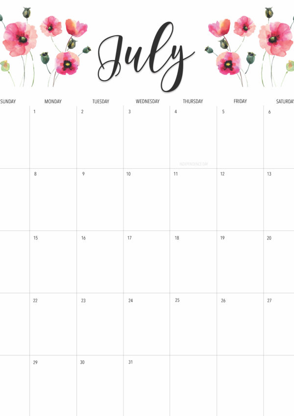 Welcome July+ Free July 2019 Printable Calendar!
