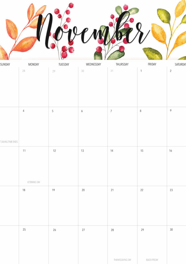 Welcome November + Free November 2019 Printable Calendar!
